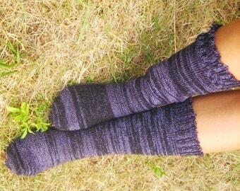 Knitted Multicolor Blue Knee Length Socks