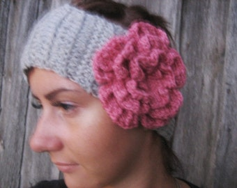 Crochet Headband Flower  Earwarmer Head Wrap Gray Flower Hat Girly Romantic women headband