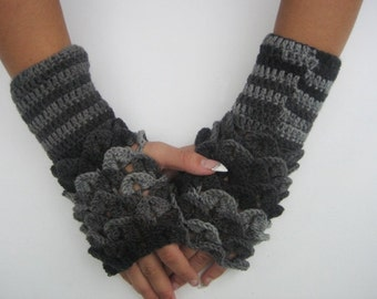 Cute Crocheted Fingerless Gloves dragon scals gloves Arm Warmers Gray fingerless dragon scales woman winter accessory