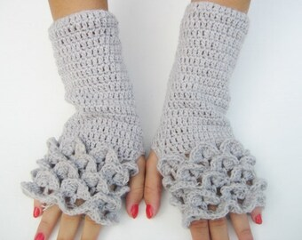 gray dragon scale  Fingerless Crocheted Gloves Arm Warmers dragon scale gloves gray fingerless ,gift  winter accessory, woman accesories