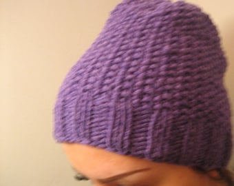 Knitted purple Beanie Hat,Hand Knit Hat Womens Hat - Cloche Hat ,crocheted flowers, Chunky Knit Winter