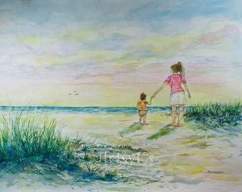 Mommy and Me at the Beach Print