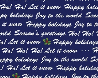 SALE!! Half Yard Winter Wishes - Winter Words in Navy Cotton Quilt Fabric - Michele D'Amore - Benartex Fabrics (W371)
