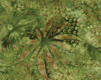 5/8 Yard REMNANT Venetian Collection - Fireworks in Green - Triple Dyed, Hand Dyed Bali Batiks - Cotton Quilt Fabric - Benartex (w1081)