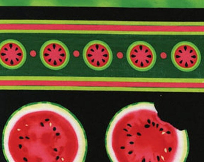 SUPER CLEARANCE! One Yard Mad for Melon - Watermelon Stripe in Black - Cotton Quilt Fabric - by Kanvas - Benartex (W248)