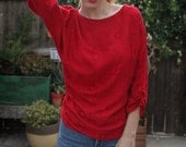 70's Ruby Red Ruched Floral Textured Carol Bird Dolman Sleeve Blouse