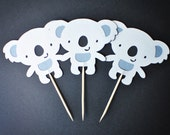 Cute Koala Cupcake Toppers -- Australian Vacation Party -- Set of 12 - DiscoverBees