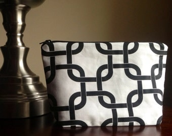 Makeup bag, cosmetic case, zipper pouch, clutch - black and white
