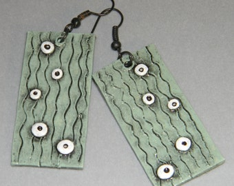 Earrings Distressed Boho Polymer Clay Mid Century Modern Jewelry Women Casual Dangles DROPLETS by ArtCirque Donna Pellegata