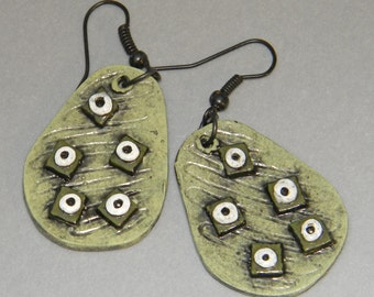 Earrings Distressed Boho Polymer Clay Mid Century Modern Jewelry Women Casual Dangles LAGOON by ArtCirque Donna Pellegata