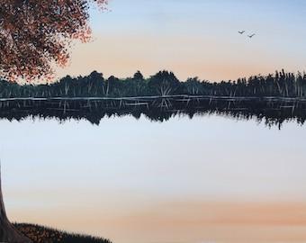Autumn lake painting,,lake painting,fall painting,tree painting,bird painting,landscape painting,orange painting,brown painting,20x24 canvas