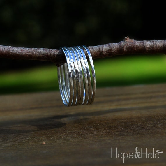 thin sterling silver stacking ring stack by hopeandhalo