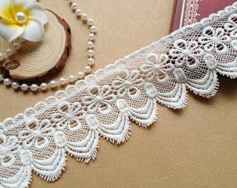 White lace trim, scalloped lace, retro lace trim, cotton lace, 2 yards