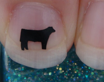 Cow Nail Art Decals Set of 20 Vinyl Stickers Applique Manicure Pedicure Party Event Accessories Steer Style 1