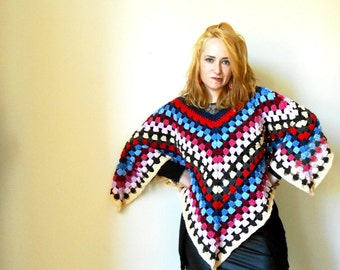 crochet poncho, Hippie crochet shawl, boho crochet poncho, heavy wool poncho, crochet wrap