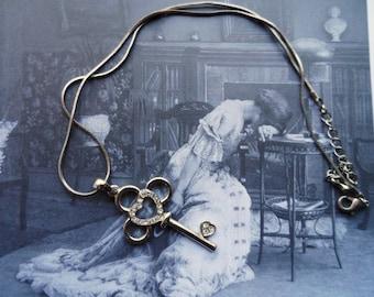Key & Hearts Silver Tone Necklace- Rhinestone Studded Heart- Token of Love- Romantic- Key to My Heart-Classic Romance Pendant Necklace