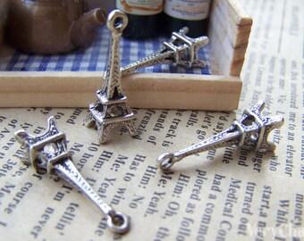 20 pcs of Antique Silver 3D Eiffel Tower Charms Pendants 8x23mm A1650