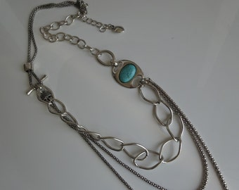 Silver plated, turquoise necklace.