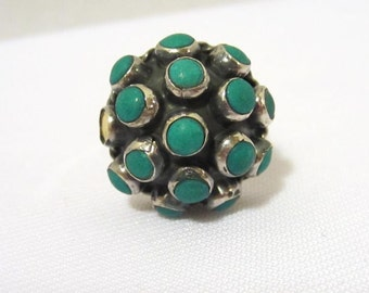 Vintage Mexican Adjustable Sterling silver Domed Ring Size 7.5