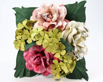 Bridesmaids Bouquet - Rose Pink Ivory Music Sheet Roses