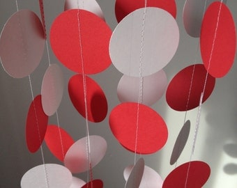 Red and White 12 ft Circle Paper Garland- Party Decorations, Birthday, Wedding, Bridal Shower, Baby Shower
