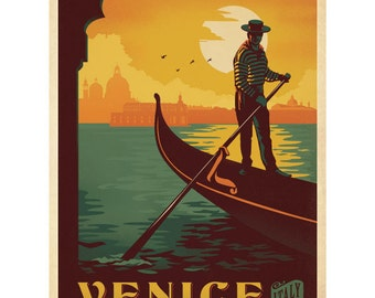 Venice Italy Canal Gondolier Wall Decal #42240