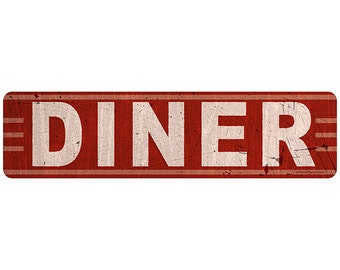 Diner Red Distressed Kitchen Wall Decal #40797