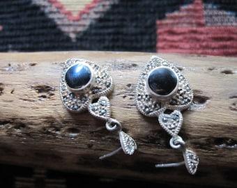 Onyx Heart and Sterling Earrings