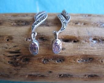 Ornate Garnet, Marcasite and Sterling Earrings