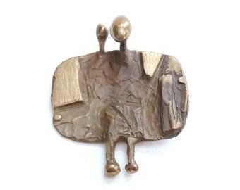 Abstract Modernist Bronze Pendant