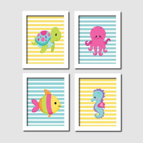 Ocean Wall Decor For Nursery : Sea animals wall art baby girl nursery decor by