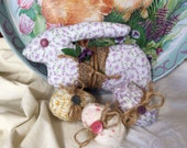 Shabby cottage chic Easter rabbit, burlap wrapped easter eggs, ornies , bowlfiller, tucks, french country rabbit, trinityridgefarm, OFG team