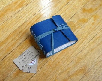 Blue Leather Bound Sketchbook/Journal/Recipe Keeper, Hand-made, One-of -a -kind