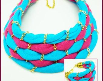 Turquoise / Fuchsia Choker Necklace And Bracelet Set 1 - N-1015
