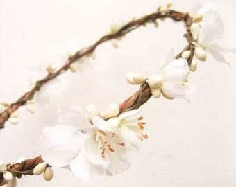 Flower crown, Rustic wedding hair accessories, Floral headband, Ivory wreath, Woodland - JODIE