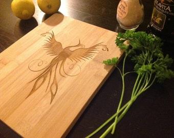 Arising from the Ashes: Beautiful Phoenix Bird on Bamboo Cutting Board