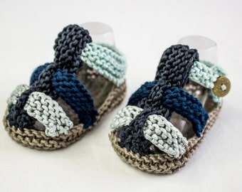Hand Knit  Baby Boy Summer Sandals With Straps And  Button Closure in Blue,Taupe,Aqua, Summer Booties, Baby Boy Summer Sandals