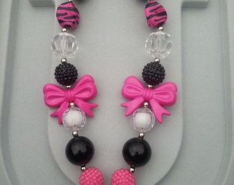Kid's Black, White & Pink Bow Chunky Necklace