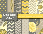 Bird paper, Digital Scrapbook Paper, Modern, Flowers, Leaves, Yellow, Gray Paper, Instant Download, supplies, pattern paper, paper goods