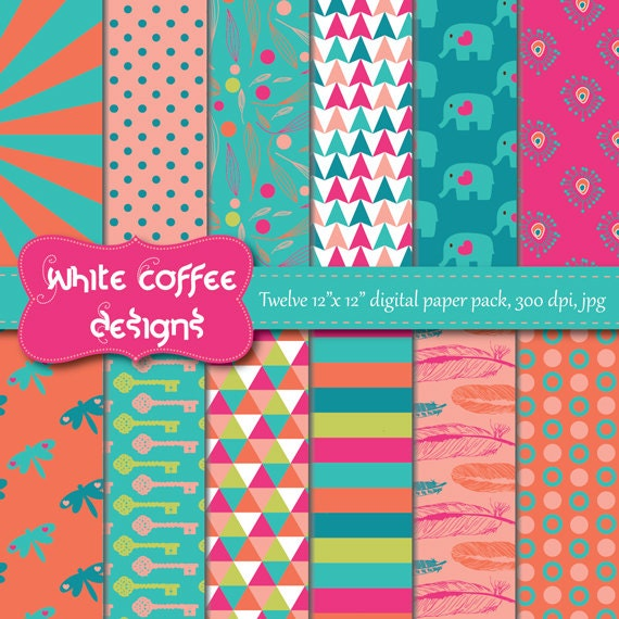 Paquete de papel digital Scrapbook papel por WhiteCoffeeDesigns