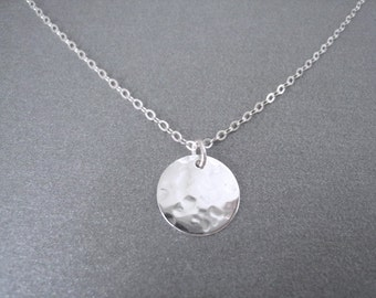 Sterling Hammered Disc Necklace, Minimalistic Necklace, Sterling Silver Chain