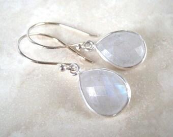 Moonstone Drop Sterling Earring, Dangle, Teardrop, Sterling Silver earring Wires, Moonstone Dangle Earrings