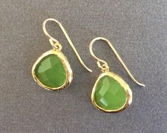 Green Gold Drop Earrings, Apple Green Crystal Earrings,