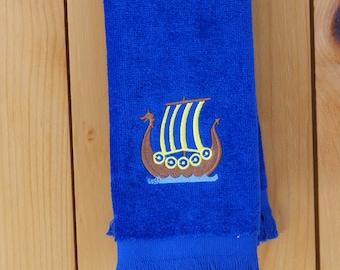 Scandinavian Swedish Viking Ship Embroidered Towel (#39)