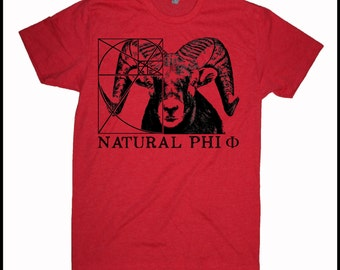 Men's RAM Natural Phi Golden Ratio Screen Printed Shirt Fibonacci Math
