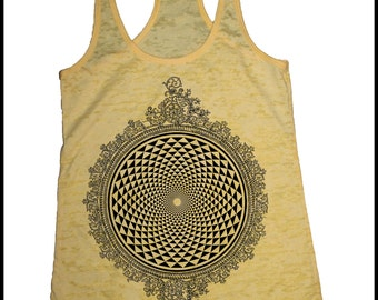 Women's Mirror Mirror Mandala Tank Top Yellow Psychedelic Sacred Geometry Screen Print