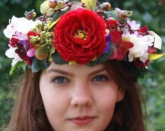 Red Autumn Flower Crown Baroque Style Wedding Crown Flower Headdress Weddings Bridal Flower Big Crown Autumn Floral Crown