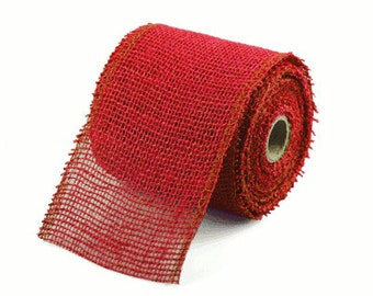 """4"""" Red Burlap Ribbon - 10 Yards serged (4 pack)"""