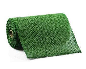 "9"" Green Burlap Ribbon - 10 Yards (Stitched Edging) 4 Pack"