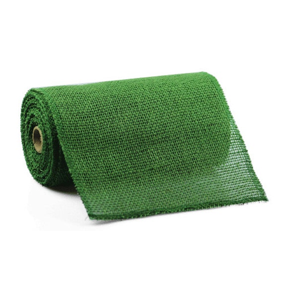 9 green burlap ribbon 10 yards stitched edging 4